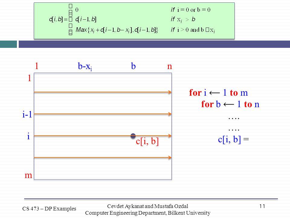 1 b-xi b n 1 for i ⟵ 1 to m for b ⟵ 1 to n …. c[i, b] = i-1 i c[i, b]